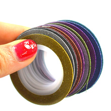 STZ 1mm 12pcs/Lot 3D Glitter Nail Art Line Sticker DIY Striping Tape Rolls Shinning Tips Manoicure Tools NC392