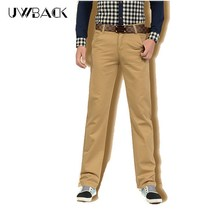 Uwback Summer Casual Pants Men Breathable Cotton Trousers 2017 Fashion Straight Male Pants Army Green Khaki Plus Size DBA041(China)