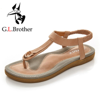 G.L.Brother T Strap Sandals Flat Metal Buckle Flip-Flops Women's Sandals Footwear Casual Slip On Sandals Women Summer Shoes
