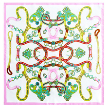 Chain & Belts Printed Neckerchief Bandana Small Square Silk Scarf Women 100% Silk Scarves & Wraps Foulard Multifunctional(China)