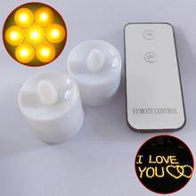 Yellow Flickering LED Candle Light Remote Control Candle Battery Operated Tealight Candle Valentine (12pcs candle+1pc remote)(China)