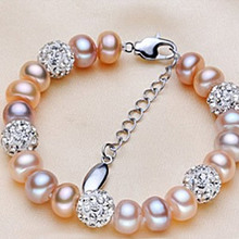 YYW New fashion design bangles natural freshwater pearl bracelets rhinestone beads accessories charm pearl bracelet for women
