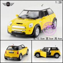 Gift for baby 1pc 1:28 12.5cm delicate yellow MINI cooper S simulation model alloy car pull back home decoration boy child toy