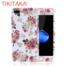 Fashion 360 Full Body Protective Phone Cases For iPhone 7 6 6s Plus 5 5s SE Case Flowers Camouflage Back Cover With Screen Film(China)