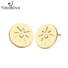 Todorova Round Compass Stud Earrings Pop Jewelry Compass Ear Nails for Beautiful Ladies Adventure Travel Gifts