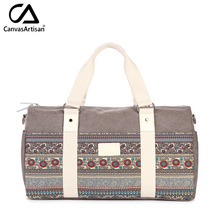 Canvasartisan women canvas hand luggage travel duffle bags tote big capacity retro stylish female traveling shoulder handbags(China)