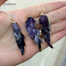 The Unique Purple Crystal Pendant Gold Coated Natural Stone Pendant Necklace Diy Fit Women For The Manufacture Of Jewellery(China)
