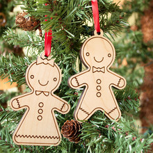 2pcs Cute Gingerbread Man Wooden Hanging Ornaments For Christmas Tree Home Party Decorative Accessories