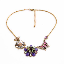 Asymmetry Design Fresh Casual Jewelry 2015 Fashion Colorful Daily Flower Butterfly Beach Necklace(China)