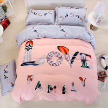 4 pcs bedding set warm carton adult children bedding set for kids girl boy queen king 1.8/2m bed size winter duvet cover set(China)