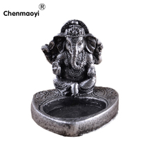 resin India buddha candle holders wedding decor gifts silver color candlestick home decoration accessories candle stand(China)