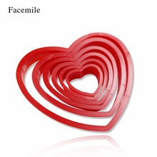 Facemile 6Pcs DIY Heart Shape plastic Cake Cold Cookie Cutter Biscuit Sugar Craft Cake Decoration Set 02032