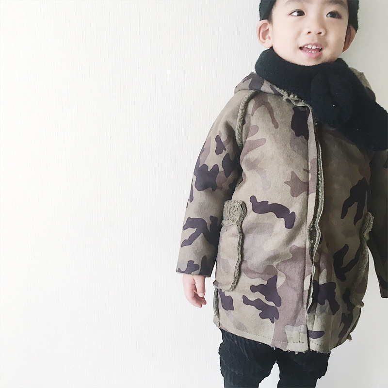 Winter Boys Camouflage Jacket Baby Fashion Suede Coats Kids Jacket Warm Lambs Wool Casuals Children Jackets Kids Thick Outerwear<br>