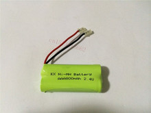 10PCS/lot Original New Ni-MH AAA 2.4V 800mAh Ni MH Rechargeable Battery Pack With Plugs For Cordless Phone Free Shipping
