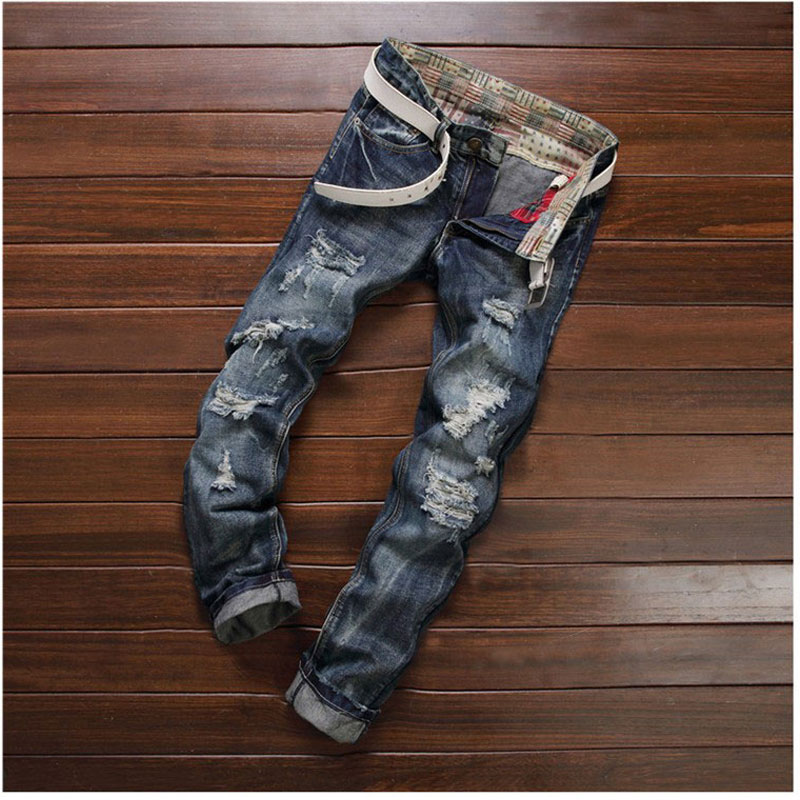 Vintage Patchwork Fashion MEN Long Pants Straight Slim Jeans Mens Hole Jeans 2017 Nightclub Jeans Personality Trousers 30-38Одежда и ак�е��уары<br><br><br>Aliexpress