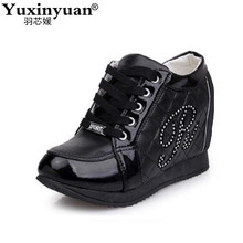 Hot Sales New 2017 Autumn Black White Hidden Wedge Heels Casual Shoes Women's Elevator High-heels boots For Women Rhinestone(China)