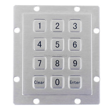3*4 Matrix rugged USB Numeric IP65 Waterproof panel mount brushed Metal Keypad with 12 full travel keys for indoor and outdoor(China)