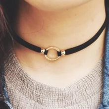 Handmade Retro Jewelry Fashion simple Knitting metal circle choker necklace women short statement necklace girls trendy jewelry