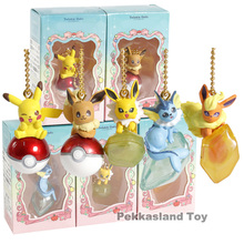 Twinkle Dolly Pikachu Eevee Vaporeon Jolteon Flareon Mini PVC Figures Toys Pendants 5pcs/set
