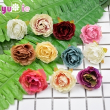 10pcs Artificial Flowers Silk flower European Fall Vivid Peony Fake Leaf Wedding Home Party Decoration Peony Chrismas Gift
