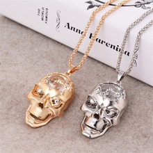 New CZ Diamond Necklaces & Pendants Charm Creative Skull Pendant 75cm Length Long Chain Necklace Women Men Birthday Gift