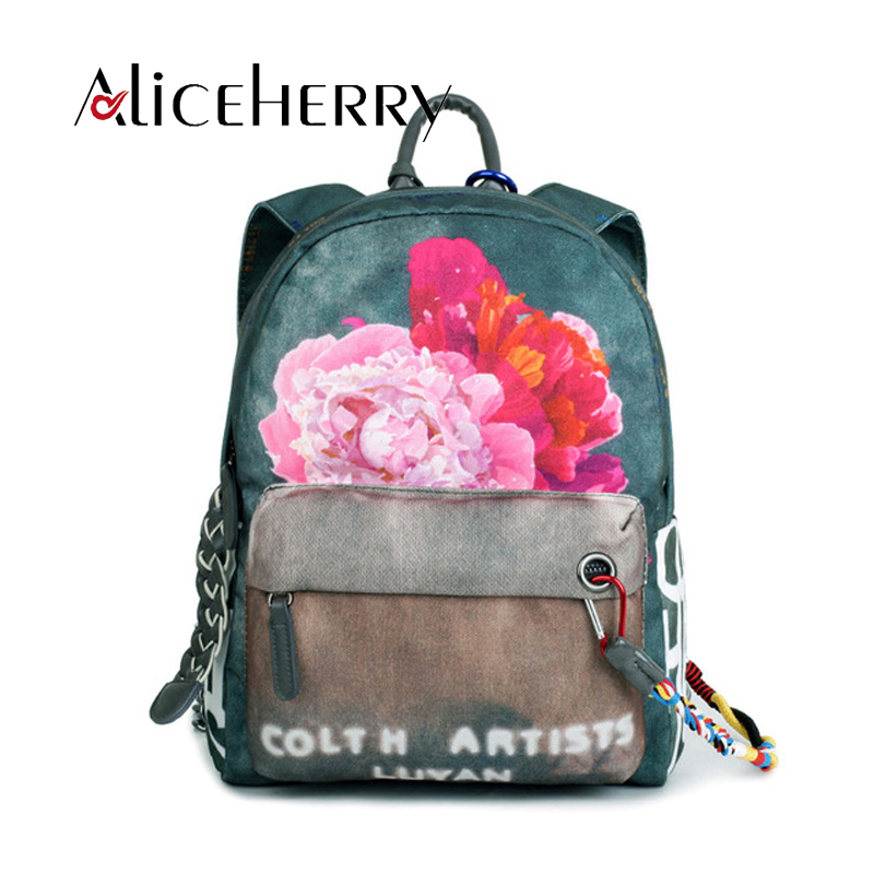 European Fashion Cute Student School Back Bag printed pattern Canvas Women Backpack With Flower Girl Lanyard Ethnic Style<br>