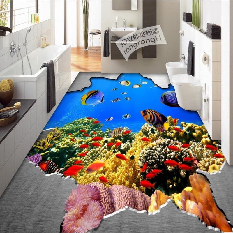 Free Shipping Metal hole underwater world 3D brick flooring painting wallpaper waterproof self-adhesive floor mural<br>