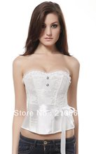 Sexy Bridal White Corset Basque Wedding Bridal Lingerie top with thong(China)