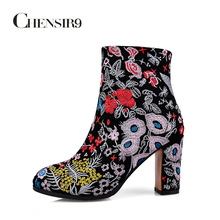 CHENSIR9 Genuine leather women shoes embroidered Square high heel ankle boots Women Winter Boots Indian style size 34-43 TMN26A