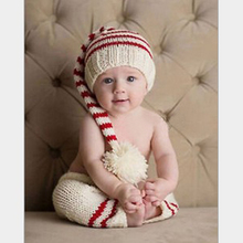 Newborn Photography Props Baby Striped Hat + Pants Infant Crochet Knitted Christmas Costume