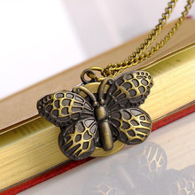 2018 Top selling New Vintage Butterfly Quartz Pocket Watch Necklace Pendant Chain Watch(China)