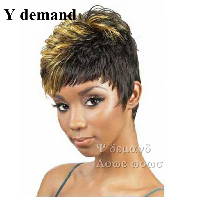 Free Shipping Pixie Cut Synthetic Wigs With Bangs Short Curly Black Hair African American Wigs For Women<br><br>Aliexpress