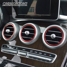 Fit for Mercedes C GLC Benz Class W205, 7 pcs/lot aluminium alloy sticker/ instrument panel air outlet decoration ring sticker(China)