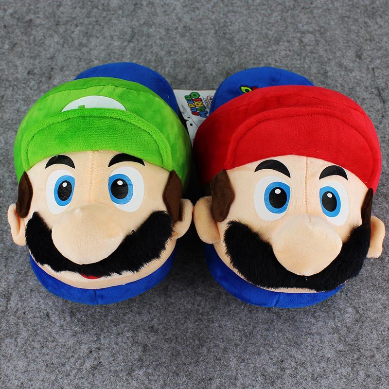 26cm Super Mario Bros Slipper Mario Luigi Winter Warm Indoor Stuffed Slipper for Teenagers and Adults(China (Mainland))