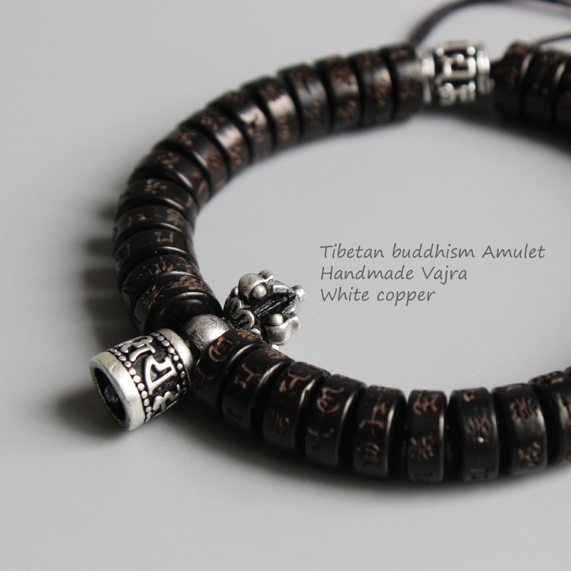 Eastisan Tibetan buddhism Vajra Charm Natural Coconut shell beads OM Mani Padme Hum Bracelet For Man Women Handmade Dropshipping