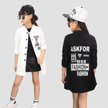 School Girls Baseball Jackets Cotton Letter Coats For Girls Children Clothing Casual Kids Street Outerwear Hip Pop Dance Wear