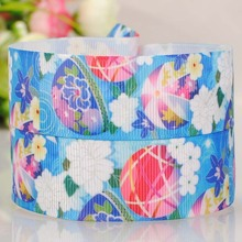 22mm color printing on the wind and the blue bell Roman Tam hair ribbon DIY polyester ribbon 0302(China)