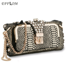 Women Evening Clutch Bags Crystal Snakeskin Genuine Leather Golden Clutches Wedding Ladies Hand Bags Chain Sling Crossbody Bags