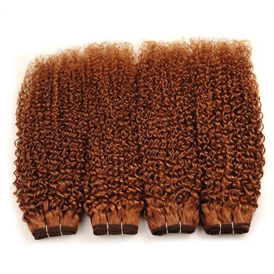 Pinshair Peruvian Jerry Curly Hair Pure Color 30 Hair Weave Non-Remy Human Hair 4 Bundles Great Value Pre-Colored Hair Extension (2)