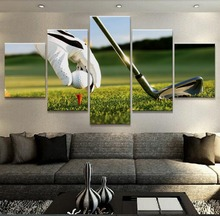 Vintage Poster 5 Panel Golf Ball Landscape Pictures Home Decoration Paintings On Canvas Poster And Prints On The Wall YGYT(China)