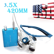 Xmas Hot Sale!BLUE Surgical Medical Dental Loupes Dental Glasses 3.5X 420mm +LED Head Light Lamp Free Ship(China)