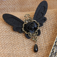 New Arrival Handmade Black Wings Brooch Gothic style Simulated-pearl Brooch Pin Vintage Cloth Jewelry Accessories Bojouterie