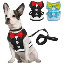Fashion Red Bowtie Gentleman Suit Boy Dog Tuxedo Easy Walk Harness Vest Dog Leash Leads Set For Small Medium Dogs S M L(China)