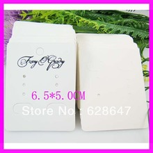 Wholesale custom earring card holders.white paper one color printed earring card holders.6.5*5.0cm.moq 1000PCS(China)
