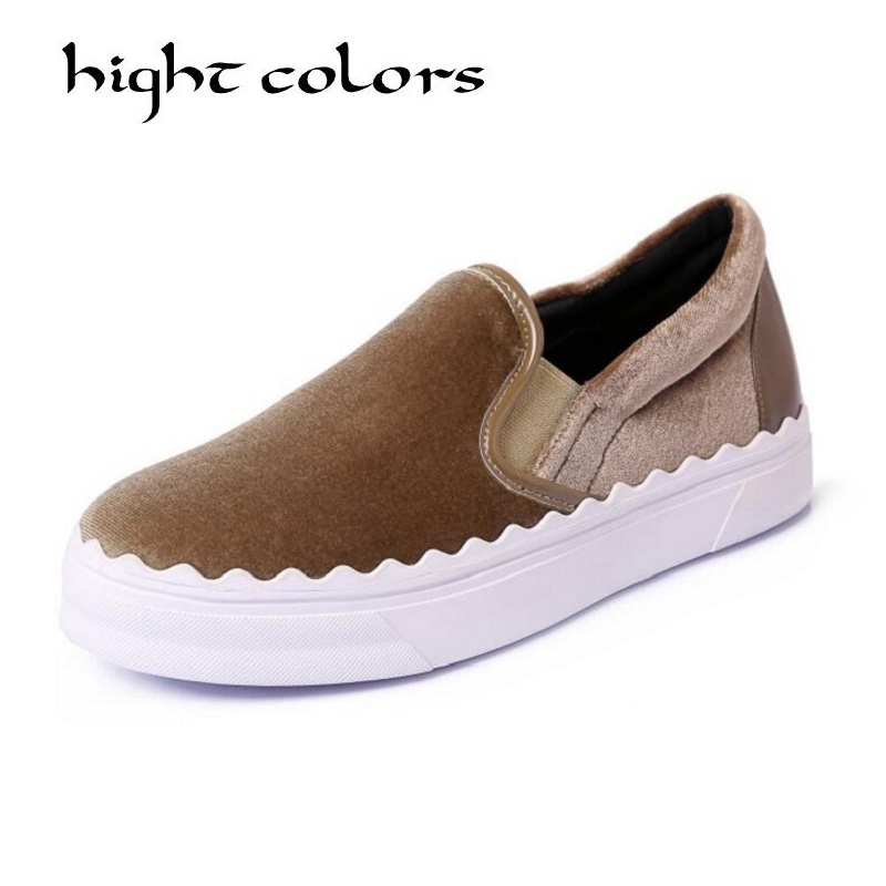 Elegant Velvet Women Flats Platform Shoes Woman Moccasins Slip On Luxury Brand Female Footwear Loafer For Ladies Casual Shoes<br>