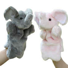 Elephant Hand Puppet Baby Kids Child Soft Hand Puppet Doll Plush Hand Puppets Toys Soft Plush Stuffed Interactive Toy Pink Gray