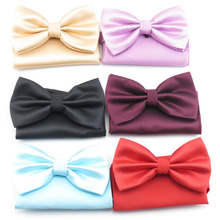 Matching bowtie pocket square/100% polyester/small grid pattern pure color design/men's accessories handkerchief bowknot