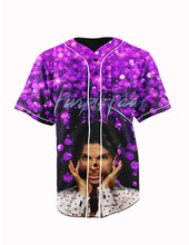 Real American Size  prince purple rain  3D Sublimation Print Custom made Button up baseball jersey plus size