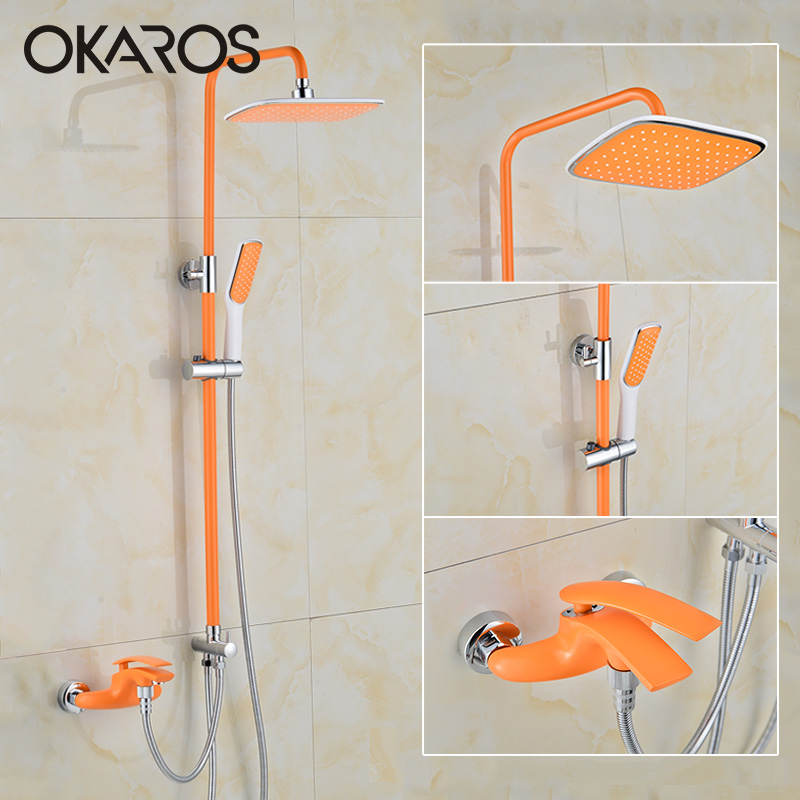 OKAROS Bathtub Shower Faucet Rainfall Shower Head Hand Shower Sprayer Bathroom Shower Set Hot Cold Water Tap Mixer Torneira(China (Mainland))