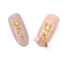 10pcs Gold pendant finding jewelry for nails heart pearl chain 3d nail nail charm new YH149(China)